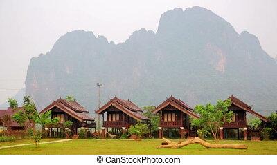 Morning at limestone mountains of Vang Vieng village, Laos