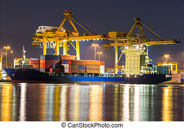 freight ship - Container Cargo freight ship with working...