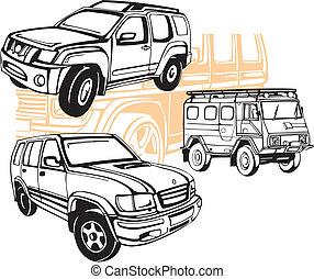 voitures, de-route, vecteur,  -, ensemble