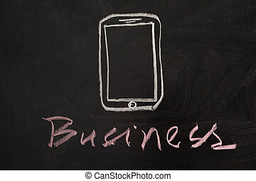 Moble business concept - Mobile business concept drawn on...