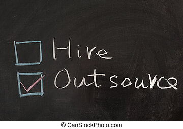 Hire or outsource - Choosing from hire and outsource concept...