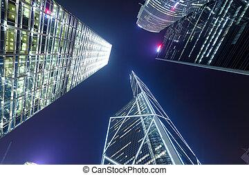 Hong Kong at night, view from below