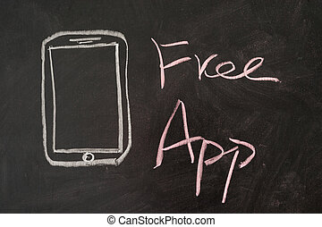 Free App word with mobile phone on blackboard