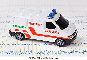 Toy ambulance car on ecg - medical background