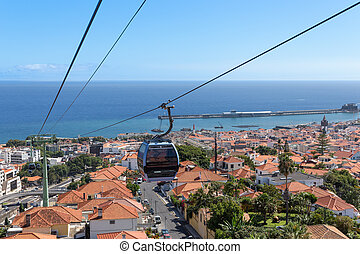 Cable car to Monte at Funchal, Madeira Island Portugal with...