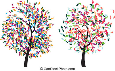 Colorful Tree - Stylized colorful tree with abstract leaves...