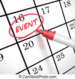 event word circle marked on a calendar