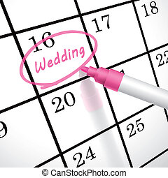 wedding word circle marked on a calendar by a pink pen