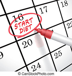 start diet words circle marked on a calendar by a red pen