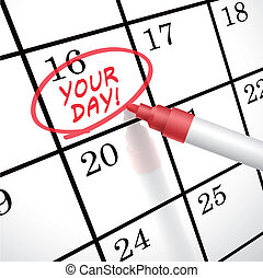 your day words circle marked on a calendar by a red pen