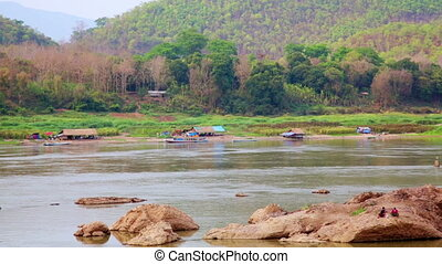 Tranquil View of Mekong River, Luang Prabang, Laos