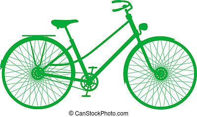 Silhouette of vintage bicycle in green design on white...