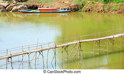 empty bamboo bridge, luang prabang, laos