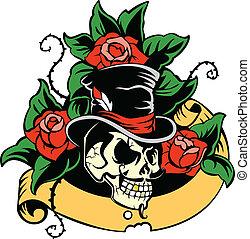 Gentleman's skull. Vintage Skull. Old school tattoo. Skull...