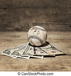 baseball and dollars, concept sport betting and finances