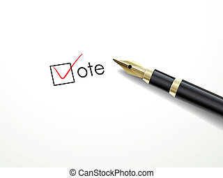 voting symbols with fountain pen