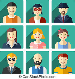 Flat avatar icons, faces, people icons - Vector flat avatar...