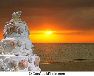 boda, playa, pastel, invitación