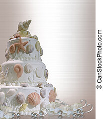 Wedding cake invitation seashells - Image and illustration...