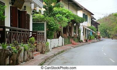 vista, fácil, yendo, relajar, Luang, Prabang, calles,...