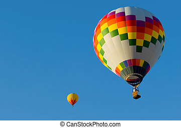 Hot Air Balloon - A hot air balloon in front of a blue sky...