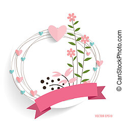 Cute card with ribbon, heart and floral bouquets, vector...