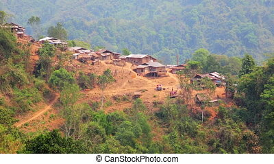 Akha tribe village on mountain, Pongsali, Laos