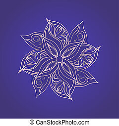Abstract floral pattern against purple background - Abstract...