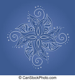 Abstract floral pattern Stylized flower against blue...