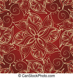 Red background with golden flowers - Background with floral...