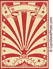 Circus color red - A grunge redr vintage poster with a...