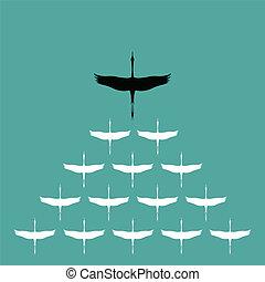 Flock of stork flying in the sky, Leadership concept