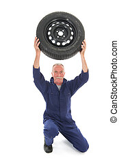 mechanic with car wheel