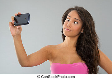 Black woman taking funny selfie - Young attractive black...