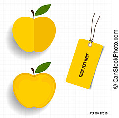 Cute note papers and apple, welcome back to school. Vector...