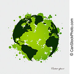 Modern green globe Vector Illustration