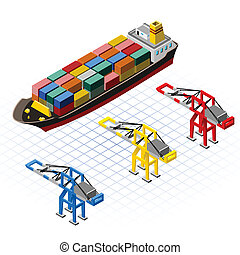 Isometric Ship with Cranes - This image is a big container...