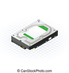 Isometric Hard Disk - This image is a 35 Inch hard disk of...