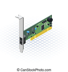 Isometric Network Card - This image is a internal network...