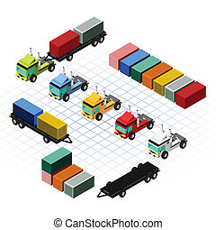 Isometric Trucks with Container - This image is a truck and...
