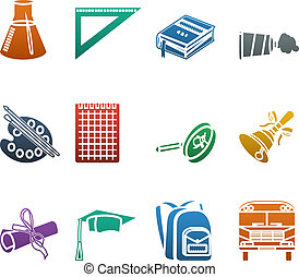 Back to school colorful icons