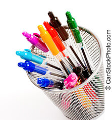 Pen Holder - a background of desk top pen holder full of...