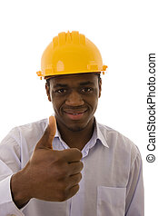Everything OK - African engineer giving the thumb-up sign...