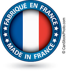 Made in France blue label with flag, vector illustration