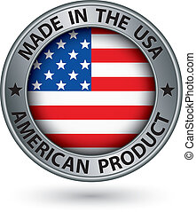 Made in the USA american product silver label with flag,...