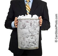 Taking out the Trash - Business man in a business suit...