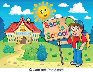 Boy with sign near school - eps10 vector illustration.