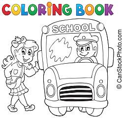 Coloring book school bus theme 3 - eps10 vector...