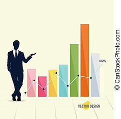 Businessman showing graph Vector illustration