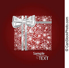 Christmas background with gift box made from snowflakes. Vector